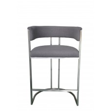 Jost 201 brushed stainless steel Bar-stool upholstered in fabric BC182