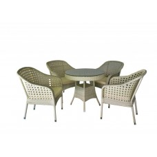 Jost White Garden Table With 4 Chairs